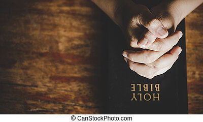 Woman hands praying to god with the bible  woman pray for