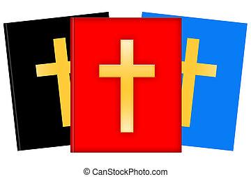 Christian literature - Christian books illustration isolated...