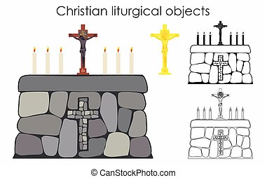 Christian liturgical objects. Sacred stone altar.