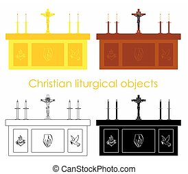 Christian liturgical objects. Sacred wood and gold altar.