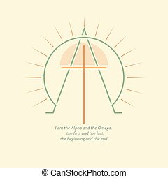 Alpha and Omega - Christian logo with the image of the cross...
