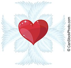 Christian Cross and heart, vector logo or sign. - Christian...