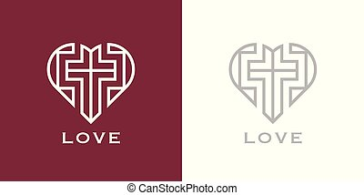 Christian love heart and cross logo icon - Abstract...