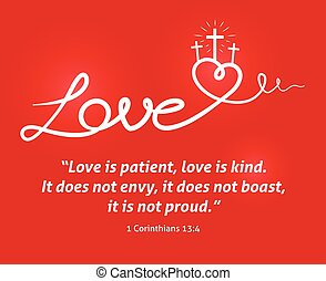 Christian Love scripture with heart and cross on red ...