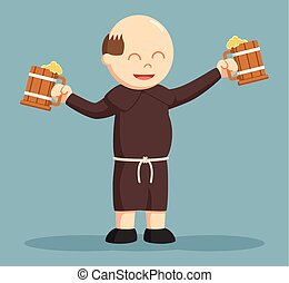 christian monk hold two wine