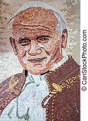 Christian mosaic portrait of Pope John Paul II