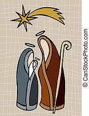 Christian nativity illustration - Christmas season: Jesus,...