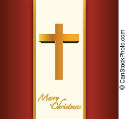 christian or catholic merry christmas card. illustration design