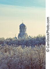 Christian Orthodox church in the winter landscape