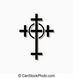 Illustration of a Christian Orthodox cross on a black background