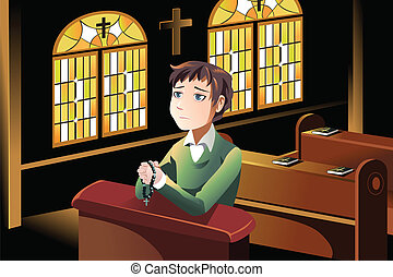 Christian praying - A vector illustration of a Christian man...