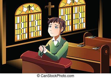 Christian praying - A vector illustration of a Christian man...