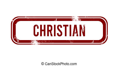 Christian - red grunge button, stamp