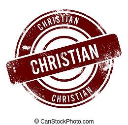 Christian - red round grunge button, stamp