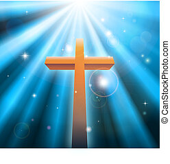 Christian religion cross crucifix bathed in light rays