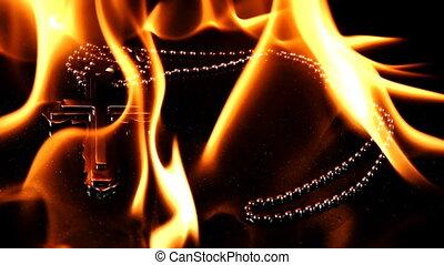Christian Religion Symbol Cross in Hell Fire