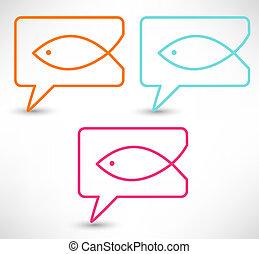 Christian religion symbol fish. Concept speech bubbles