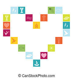 Christian religion symbols colorful as a heart