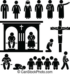 A set of people pictogram representing the people of Christian praying and practicing their tradition and culture.