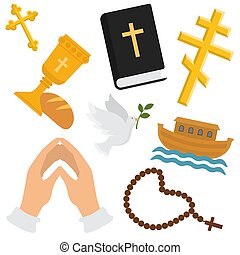 Christian religion vector pattern. Religious symbols of christianity. Illustration backdrop set of christian cross, bible with sign with beads, hands folded in prayer, holy bread with wine and dove