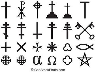 Christian Religious Symbols - Set of Christian Religious...