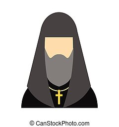 Christian russian priest flat icon