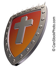 christian shield - metal shield with christian cross on...