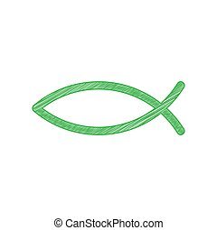 Christian symbol fish sign. Green scribble Icon with solid contour on white background.
