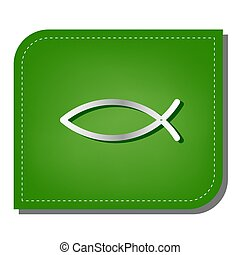 Christian symbol fish sign. Silver gradient line icon with dark green shadow at ecological patched green leaf.