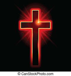 Christian symbol of the crucifix. Illustration on black ...