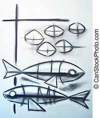Christian symbol of two fishes and five breads