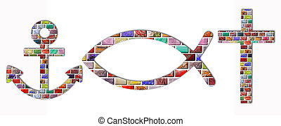 Christian symbols - anchor, fish and cross of gemstones