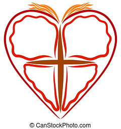 Christian symbols, butterfly with a cross in the heart