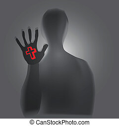 Christian symbols - Christian symbolism in a person's hand. ...