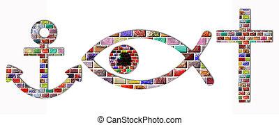 Christian symbols - anchor, fish, eye and cross of gemstones...
