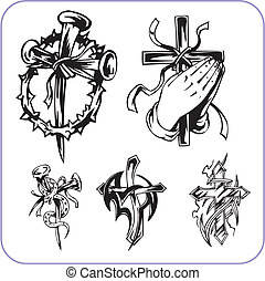 Christian symbols - vector illustration. - Christian ...