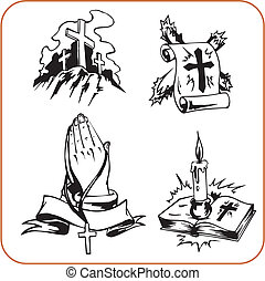 Christian symbols - vector illustration.
