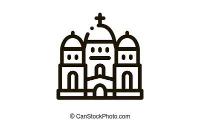 christian temple with domes Icon Animation. black christian temple with domes animated icon on white background