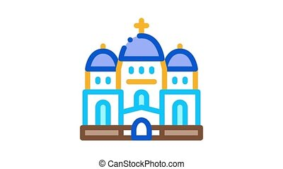 christian temple with domes Icon Animation