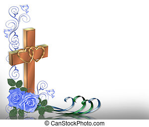 Christian Wedding invitation - 3D Illustrated Blue roses...
