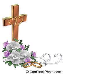 Christian Wedding invitation Cross - Image and illustration...