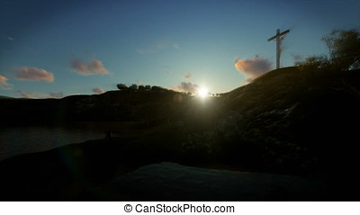 Christian woman praying at Jesus cross at sunrise, 4K