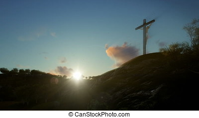 Christian woman praying at Jesus cross at sunrise, zoom out
