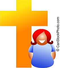Christian woman - Religious woman standing next to cross - ...