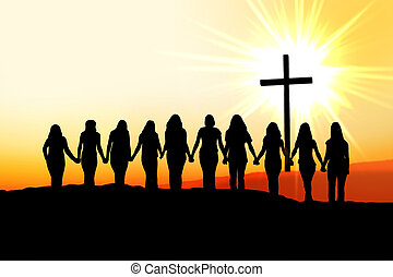 Christian women friendship silhouette.