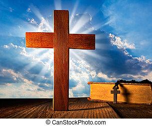 Christian wood cross on blue sky
