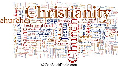 Word cloud concept illustration of Christian religion