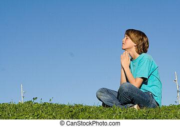 christianity, child saying prayers outdoors