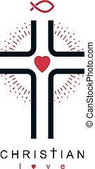 Christianity Cross true belief in Jesus vector symbol, Christian religion icon.