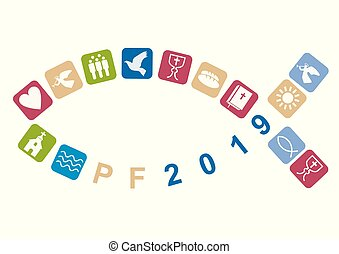 Pf card new year 2019 with fish and Stylized christian icons. Vector available.